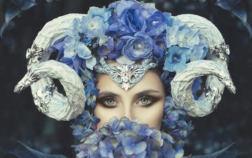 flowers, girl, portrait, look, model, face, horns, fantasy, hydrangea, blue-eyed, rebeca saray