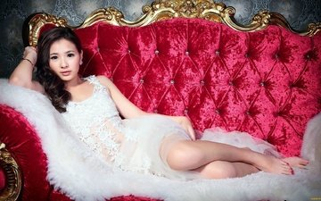 look, hair, face, sofa, asian, white dress, chinese