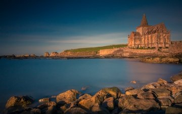 stones, sea, coast, church, scotland, north sea, fife, st monans church