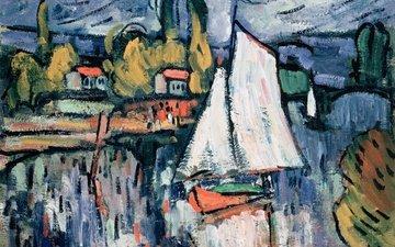картина, пейзаж, лодка, парус, морис де вламинк, вид сены, maurice de vlaminck