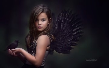 look, wings, children, girl, bird, hair, face, child