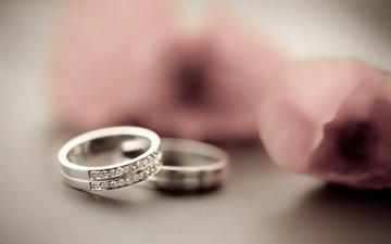 лепестки, кольцо, украшение, блюр