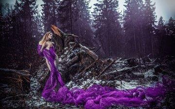лес, девушка, поза, ситуация, фигура, ультрафиолет, шаль, коряги