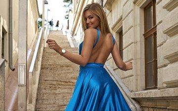 лестница, девушка, поза, взгляд, модель
