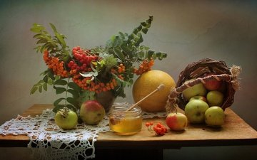 summer, fruit, apples, bouquet, napkin, honey, basket, still life, rowan, melon, august