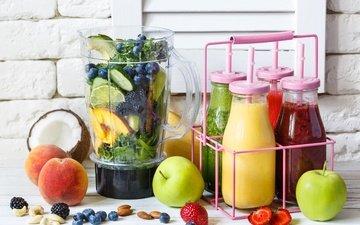 напиток, фрукты, ягоды, бутылки, фреш, смузи