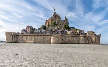 the sky, castle, france, the monastery, normandy, mont-saint-michel, le mont saint-michel