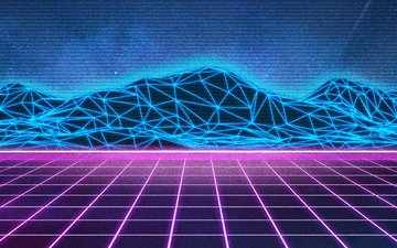 neon, vector, graphics, retrowave