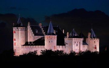 ночь, огни, замок, нидерланды, замок мёйдерслот