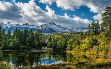 the sky, clouds, lake, mountains, forest, reflection, colorado, san juan mountains, mountains san juan
