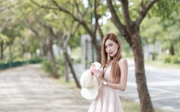 trees, girl, park, dress, look, watch, hair, face, hat, asian