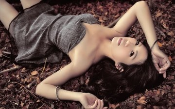 girl, dress, pose, look, hair, face, hands, bracelet, asian, dry leaves