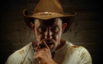 portrait, look, man, hat, cigar, cowboy, stefan charl's