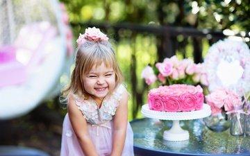flowers, dress, smile, children, joy, girl, child, holiday, cake, birthday