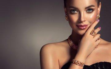 рука, украшения, девушка, модель, кольцо, макияж