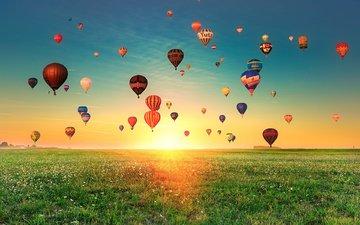 the sky, grass, balls, sunset, landscape, field, balloons