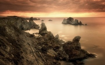 the sky, rocks, stones, shore, sunset, sea, coast