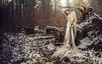 snow, forest, girl, dress, pose, the situation, snag, voodoo wonderland