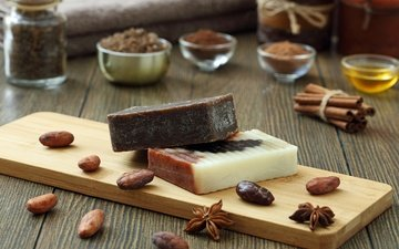 cinnamon, chocolate, cosmetics, soap, salt, anis, star anise, cocoa beans