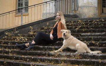 лестница, ступеньки, девушка, блондинка, взгляд, собака, модель, сидит