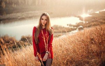 трава, девушка, поле, взгляд, ожидание
