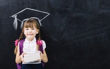 улыбка, книги, учеба, дети, девочка, ребенок, школа, школьница, косички, уроки