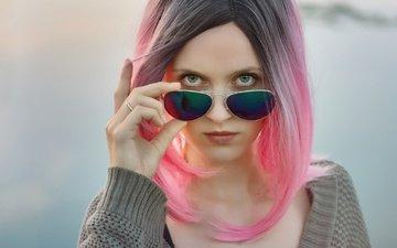 girl, portrait, look, glasses, model, hair, lips, face, pink hair