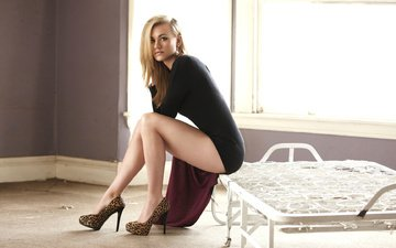girl, blonde, look, model, sitting, legs, actress, window, shoes, yvonne strahovski