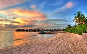 sunset, sea, beach, bungalow, tropics, the maldives