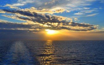 sunset, landscape, sea