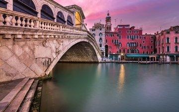 закат, венеция, канал