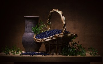 greens, berry, basket, blueberries, vase, still life