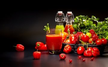 greens, black background, vegetables, glass, bottle, tomatoes, tomato, currants, pepper, juice