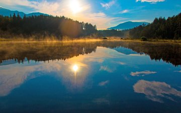 lake, forest, sunset, 1