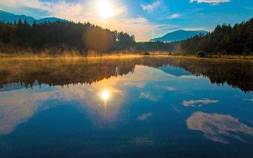 озеро, лес, закат, 1