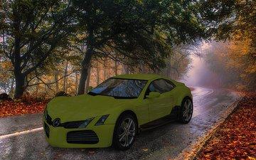 road, autumn, the concept, mercedes