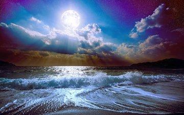 sea, beach, the moon, 7