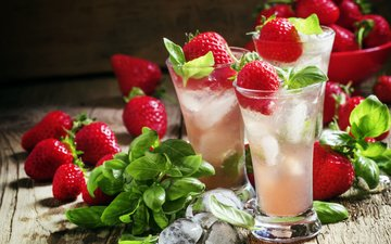 drink, strawberry, ice