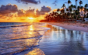 sunset, sea, beach, tropics, 15