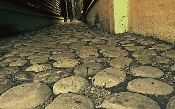 road, stones, the city, street, wall, logs, history, macadam