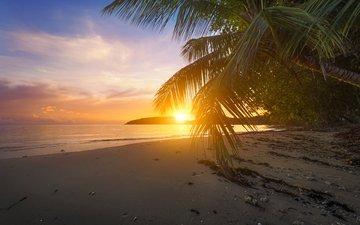 sunset, sea, beach, tropics, 11