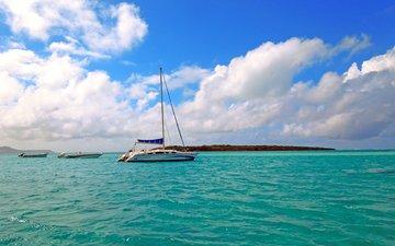 море, лодки, яхта, остров
