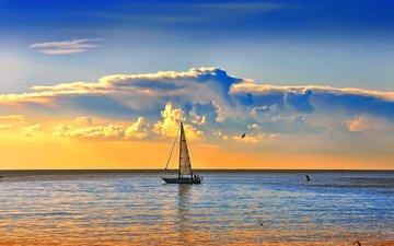 sunset, sea, yacht, 3