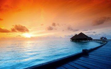 sunset, sea, tropics, 3, the maldives