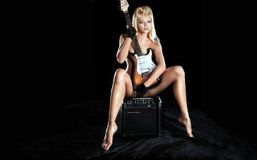 girl, guitar, the dark background