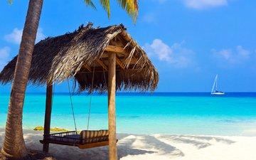 sea, beach, yacht, tropics