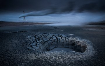 озеро, фото, исландия, высыхающих