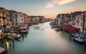 панорама, венеция, канал, италия, grand canal, cityscape