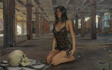 the ruins, girl, skull