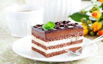 шоколад, сладкое, десерт, бисквит, 2, пирожное, шоколадная глазурь, крем